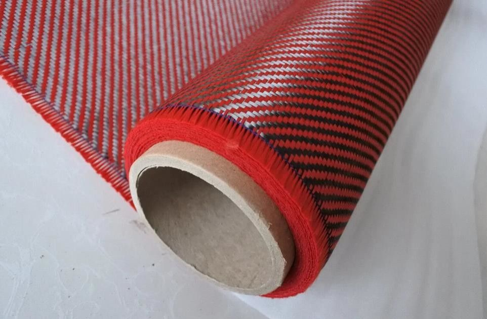 DuPont Carbon Fiber Composite Materials 2X2 Twill Weave Red Aramid Fiber Fabric
